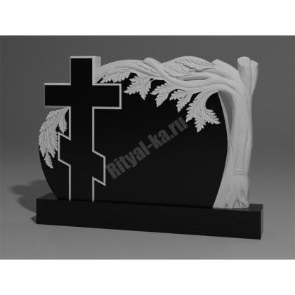 Гранитный памятник Дуб с крестом 010-2