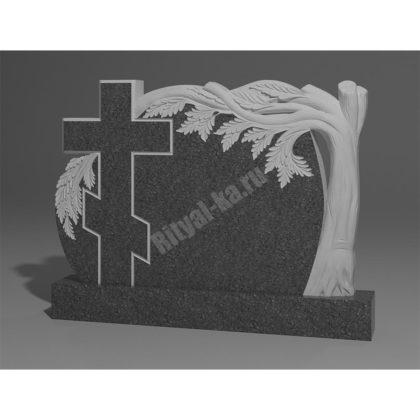 Мраморный памятник Дуб с крестом 010