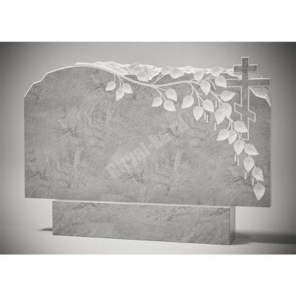 Мраморный памятник Ветка березы с крестом 004