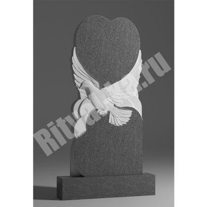 Мраморный памятник Голубь с сердцем 039