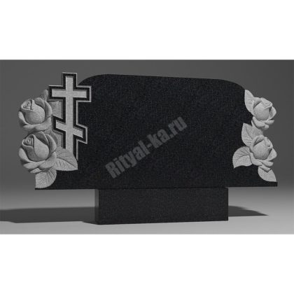 Мраморный памятник Семейник крест розами 020