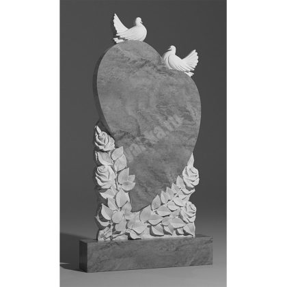 Мраморный памятник Сердце Голуби Розы 029