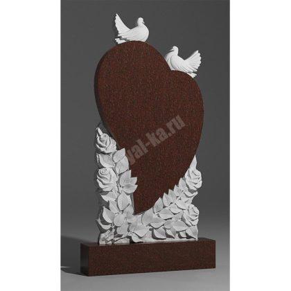 Гранитный памятник Сердце Голуби Розы 029-2