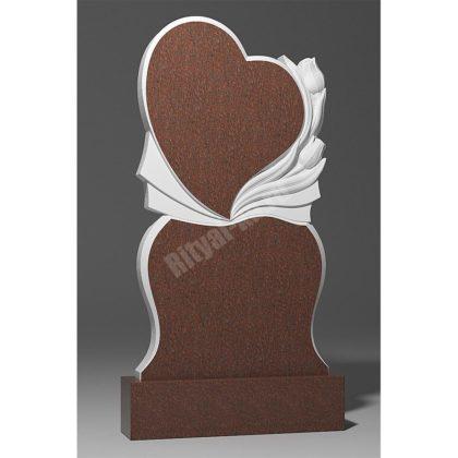 Мраморный памятник Сердце и тюльпаны 021