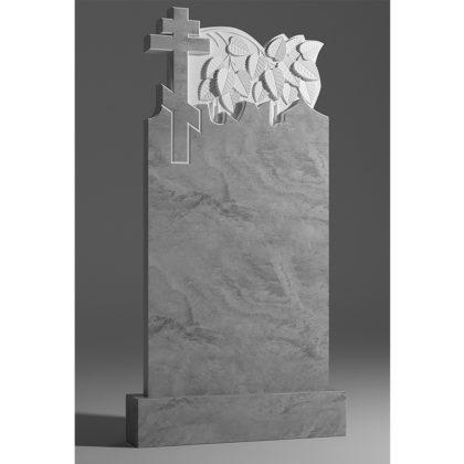 Мраморный памятник ветка березы с крестом 045