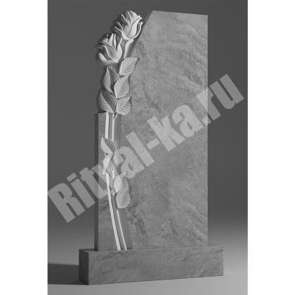 Мраморный памятник Две большие розы слева 044